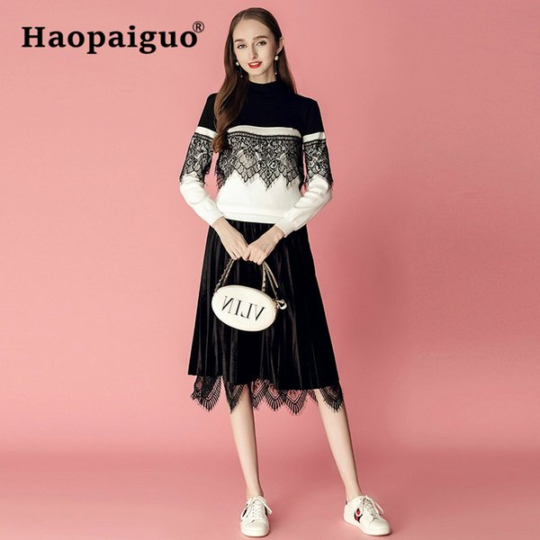 2 Piece Set Women Lace Patchwork Black Knitted Sweater and Mini Office Wrap Bodycon Lace Dress Women Streetwear Two Piece Set