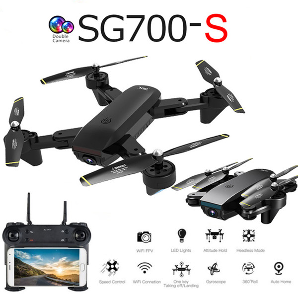 top popular SG700-S Professional Foldable Drone with Double Camera 1080P WiFi FPV Wide Angle Optical Flow RC Quadcopter Helicopter 2021