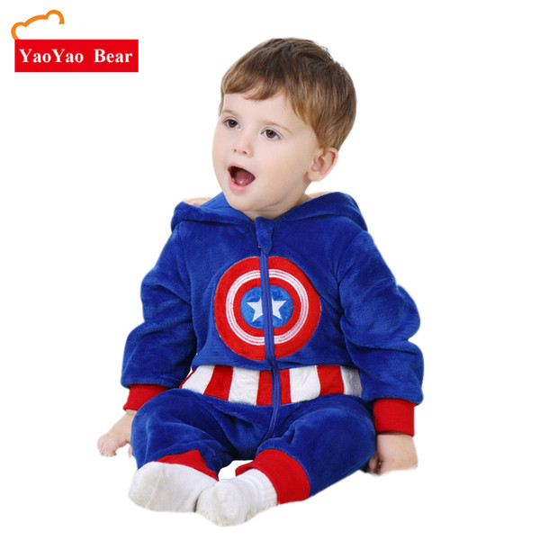 Baby Romper Captain America Costume Long Sleeve 3m-24m Girls Warm Velvet Jumpsuit Boys Outwear Clothes Yaoyao Bear J190524