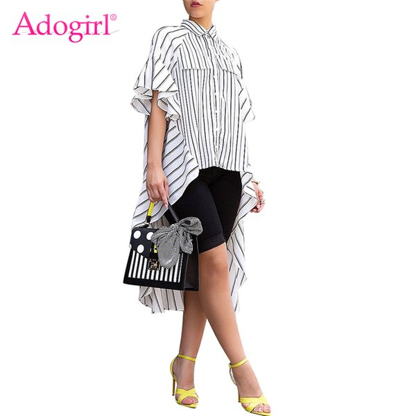 Adogirl Women Stripes Pressure Asymmetric Shirt Rotate Bottom Neck Butterfly Sleeve High Low Long Shirt Y19071201
