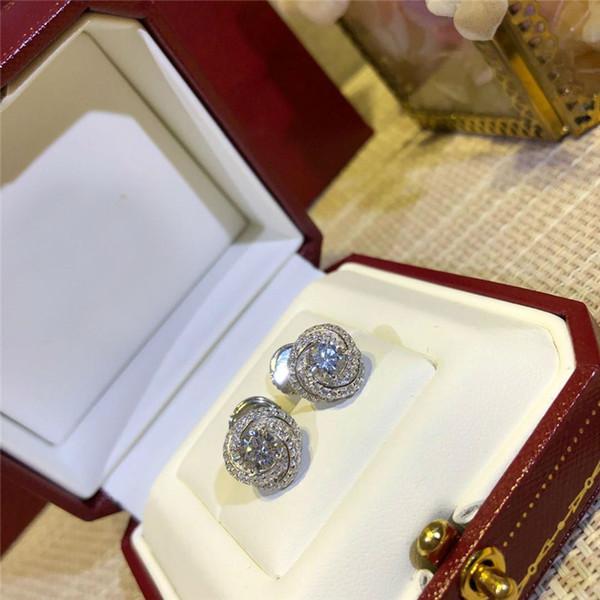 Роскошные серьги ювелирные изделия стерлингового серебра S925 Маленькие круглые серьги с бриллиантами роскошные женские ювелирные изделия подарок Бесплатная доставка