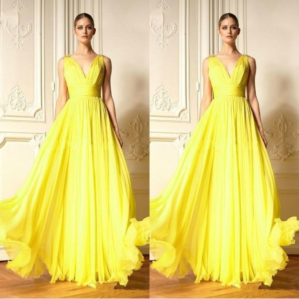 2020 Zuhair Murad Gelb Chiffon Abendkleider mit V-Ausschnitt faltet Rüschen besetzte Chiffon- Fußboden-Längen-Damen formales Kleid Partei-Kleider nach Maß