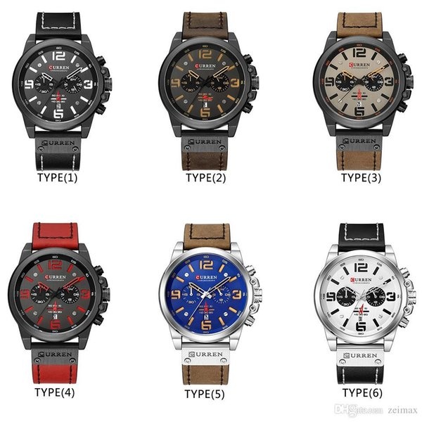 Men Military Sport Quartz Wrist Watch CURREN Casual Genuine Leather Waterproof Chronograph Watch Male Business Watch Clock298