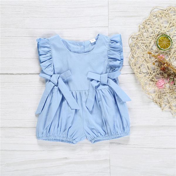 Roupas de verão Do Bebê crianças Sem Mangas Plissado Romper Macacões Blue bow shorts rastejando roupas crianças roupas de grife meninas JY371