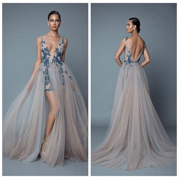 Sexy Berta High Slit Prom Dresses Bohemian Style Backless Beaded Long Formal Evening Gowns Cocktail Party Wear