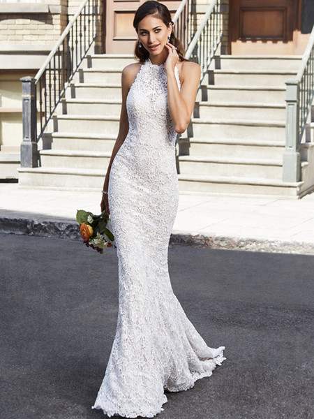Sexy Backless Wedding Dresses 2019 Mermaid Halter Neck Vintage Lace Bridal Gowns Bride Formal Dress Party Gown