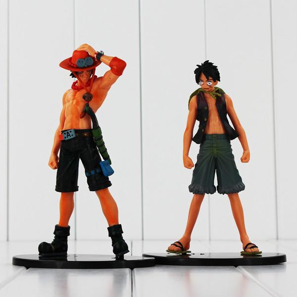 ace action figure 2pcs/lot One Piece Anime PVC Toys Monkey D Luffy Portgas D Ace Action Figure Toys Collectible Model Dolls For