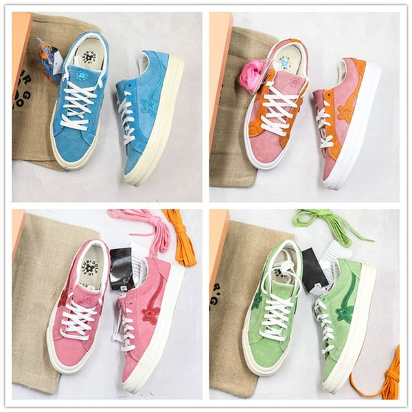Creator x One Star Ox Golf Le Fleur TTC Jolly Hip Hop Sneaker Trainer Canvas Shoes Orange Blue Green Pink Skate Shoes With Box