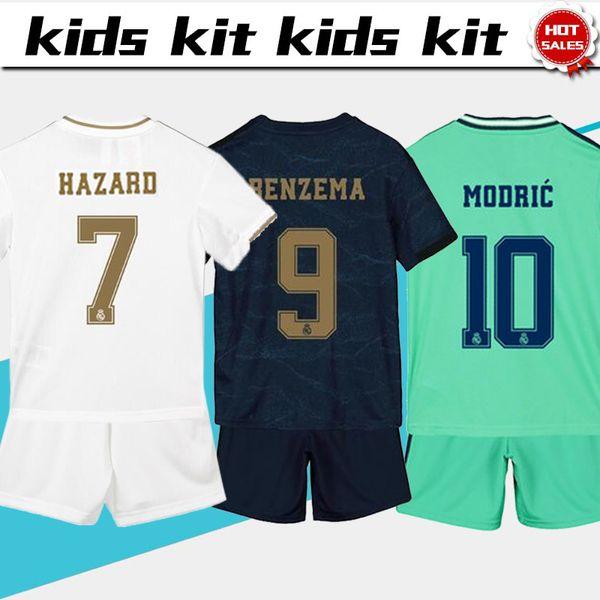 2020 Çocuk Seti Real Madrid futbol Formalar 7. TEHLİKE 9. BENZEMA 19/20 Boy futbol atletler Çocuk seti özelleştirilmiş futbol üniforma + pantolon
