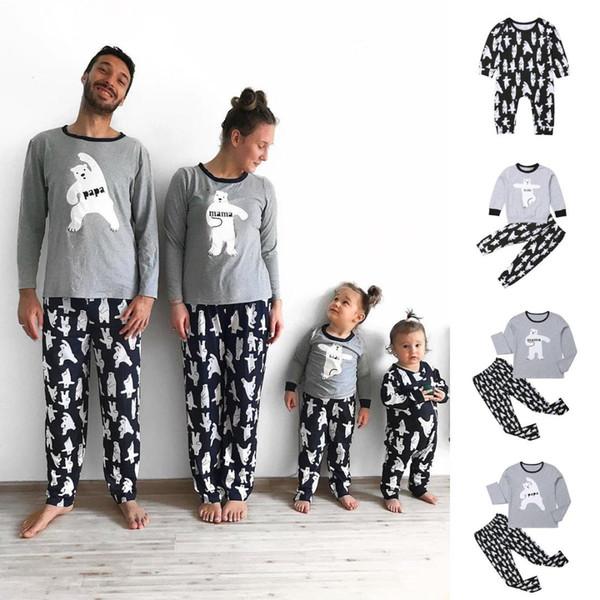 Navidad conjunto de pijamas a juego de la familia ocasional hombres mujeres bebé niños oso imprimir ropa de dormir ropa de dormir otoño invierno ropa