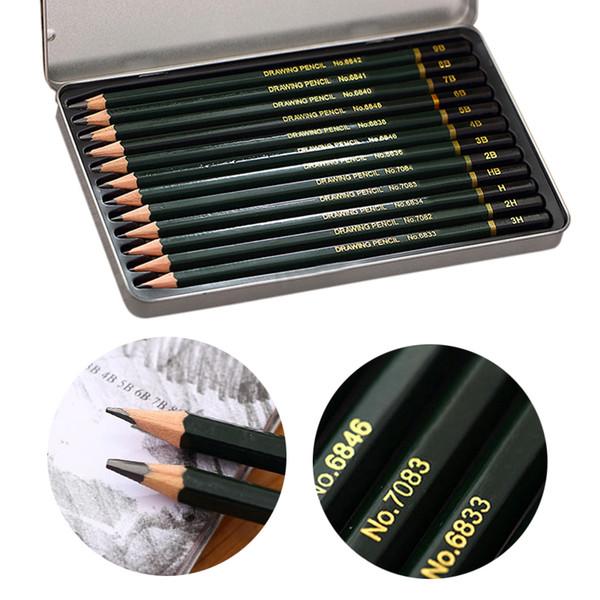 12pcs Professional Sketch Charcoal Pencils Drawing Pencils Set For School Standard Pencil Art Supplies