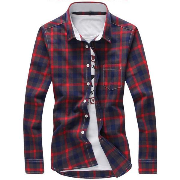 Camicia a quadri 5XL Camicia a quadretti per uomo Marca 2018 Nuova moda abbottonata a maniche lunghe Camicie casual Plus Size Drop Shipping