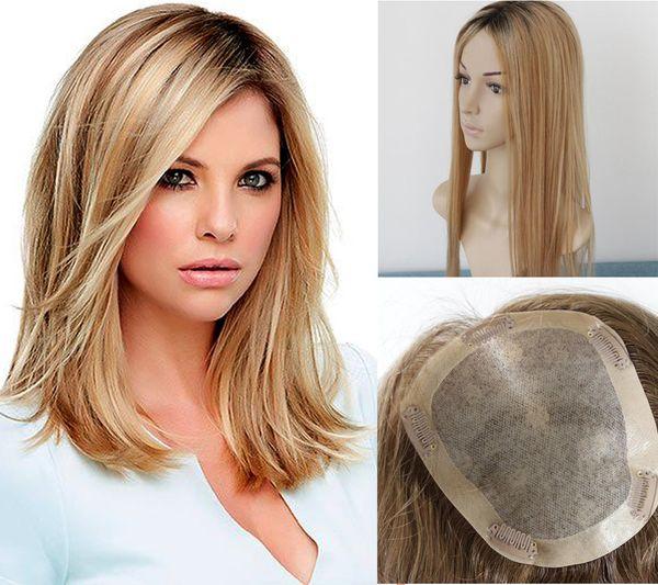 Freies Verschiffen Balayage # 2/6/27 färben silk Spitzenmenschenhaar-Deckel für Frauen Klipp im Spitzenhaarteil-Toupet für dünner werdendes Haar