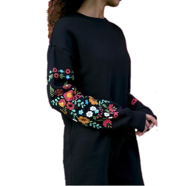 Новые модные женские повседневные прямые платья с цветочным принтом с длинными рукавами, свободная смена платья для женщин толстовка sutumn vestidos женские