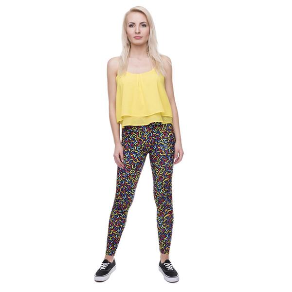 Lady Leggings 90s Sprinkles 3D Digital Full Print Stretchy Yoga Wear Pants Girls Sports Casual Jeggings Women Full Length Trousers (Y41590)