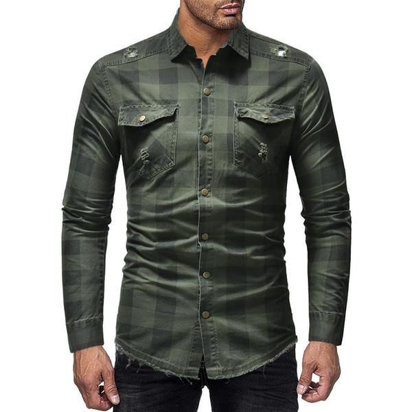 Nizza Pop Style Aramy Hochwertige Herrenhemden Business Casual Streifen Gitter Langarmhemd Casual Plaid Gary Camisa