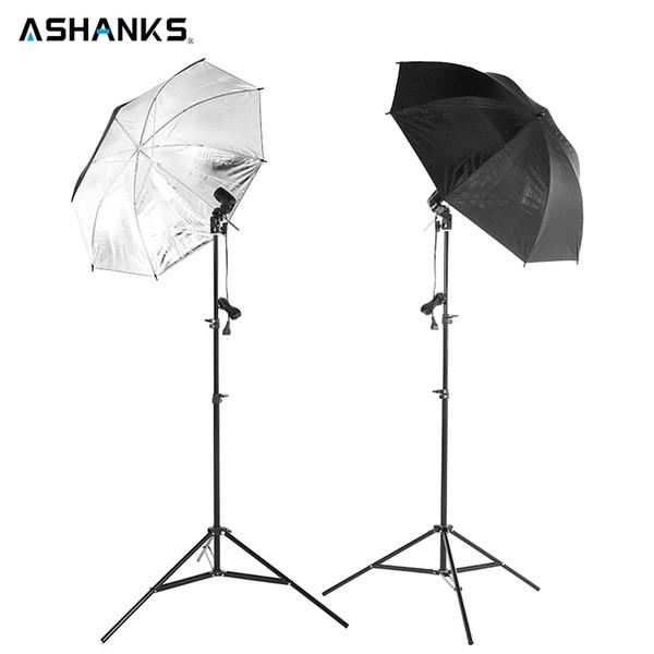 Photo Studio kits 2 83CM Reflective Umbrella Photo Studio+2 2M Light stand+2pcs single lamp holder Photography Softbox Light Kit