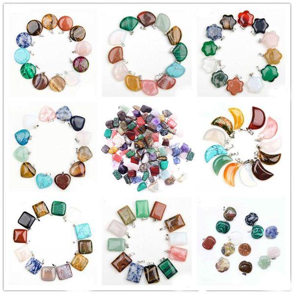 Moda Cheap Guarigione Cristalli Punto Ametista Turchese Quarzo Rosa Chakra Cuore Luna Pendenti in pietra naturale Charms Per Collane in Pietra