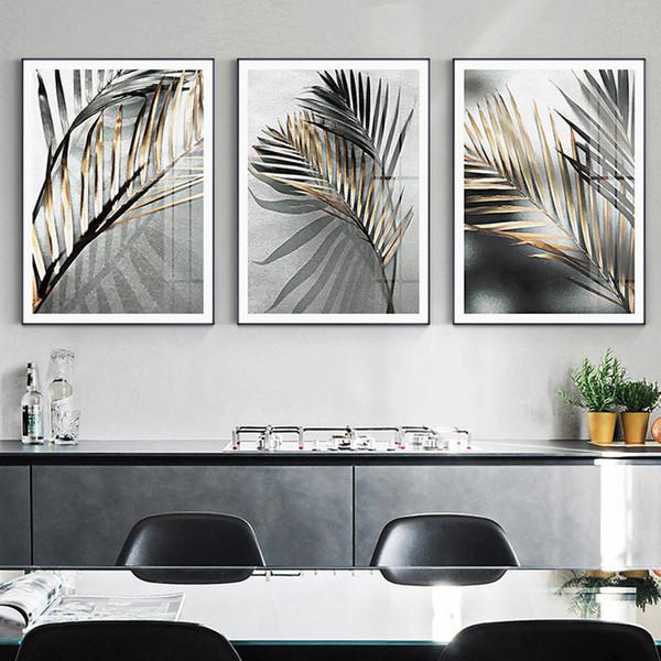 Abstrakte Black Leaf Leinwand Kunst für Wohnzimmer Gang Goldene Tusche Gemälde Dekoration Poster Drucke Einzigartige Nordic Wall Art Home