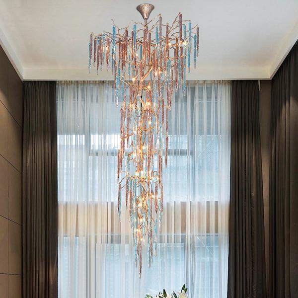 Modern Copper Chandelier Wrought Led Glass Chandeliers Light Fixtures Hotel Pendant Hanging Lamp led Crystal hanging light For Living Room