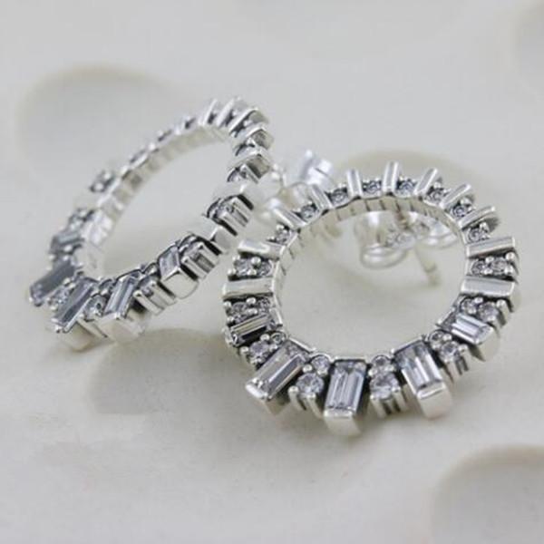 2018 Nuevo 100% S925 Joyas de estilo Pandora de plata europea Glacial belleza Stud pendientes con joyería de las mujeres