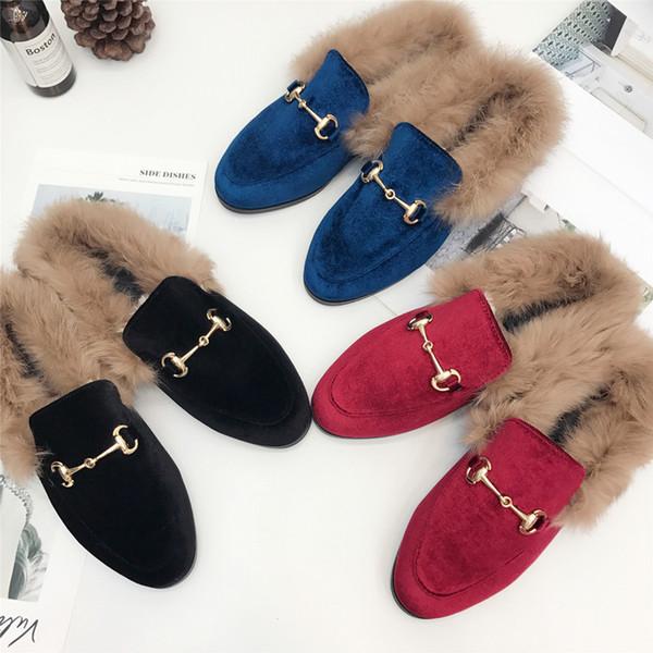 Mulheres Mocassins De Pele Natural Coelho Furry Camurça Bordados De Veludo Flats De Couro Deslizamento Em Sapatos de Inverno Quente Mills Slides De Pele