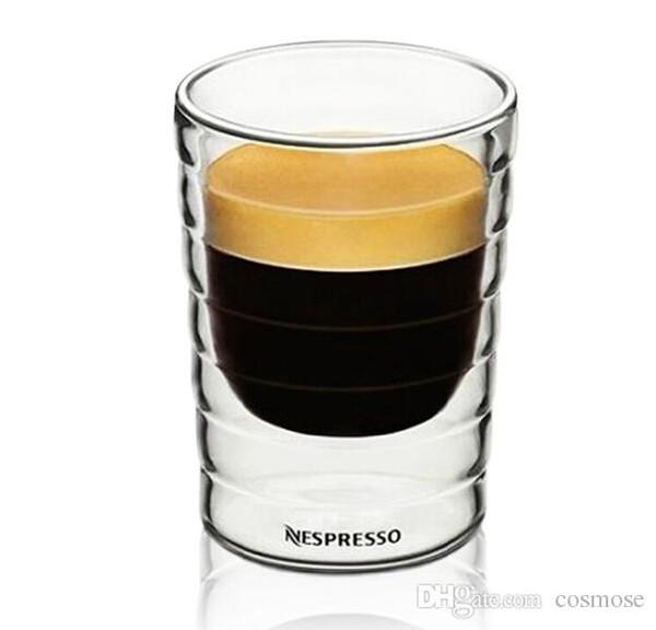 Стеклянные Кружки Caneca вручную выдувных двойной стенка Белки canecas Nespresso кружок кофе эспрессо чашка кофе термических стекла 85ml