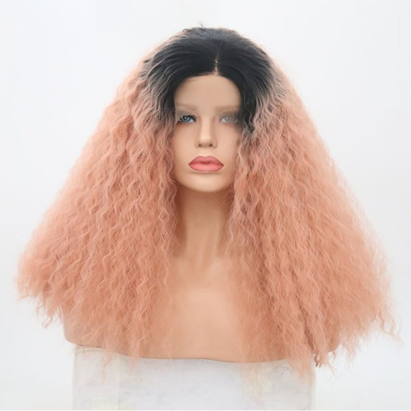NEW 150% Density High Quality Lace Front Synthetic Wigs Long Curly Wigs Hair For Black Women PINK Color hunman hair Free Shipping