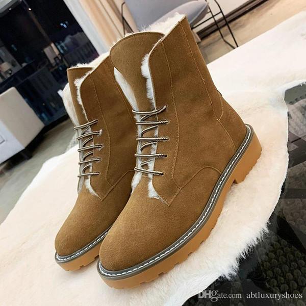 Warm Winter Snow Boots for Women Faux Suede Ankle Boots For Women Botas Plus Velvet Classic Warm Fur Plush Lace-Up Style Women Shoes High