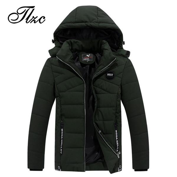 TLZC Autumn Male Warm Cotton Padded Coats Men Thicken Hooded Jacket Plus Size L-4XL 2018 Winter Men Windbreakers Windproof
