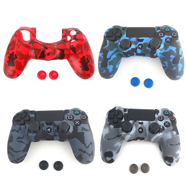 top popular For PS4 PS4 Slim PS4 Pro Controller Camouflage Silicone Cover 3-In-1 Anti-Slip Soft Skin Case + 2 Caps 2020