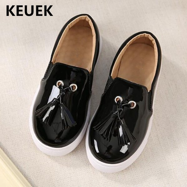 Novas Crianças Mocassins Meninos Meninas Moda Sapatos De Couro Borla Crianças Apartamentos Vestido Sapatos Estudante Respirável Único 041