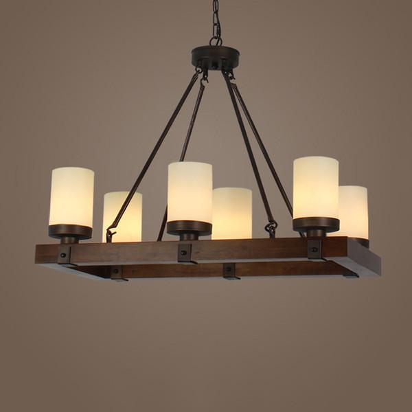 Vintage Wooden Rectangular Kitchen Island Hanging Pendant Light Living Room Glass Shade Ceiling Lamp 6-Light 11V