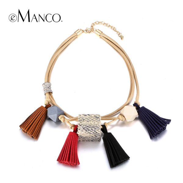 jewelry brand eManco Popular Now Ethnic Bohemia Colorful Tassel Multi-Layer Geometric Choker Necklace Women Wood Wax Rope Brand Jewelry