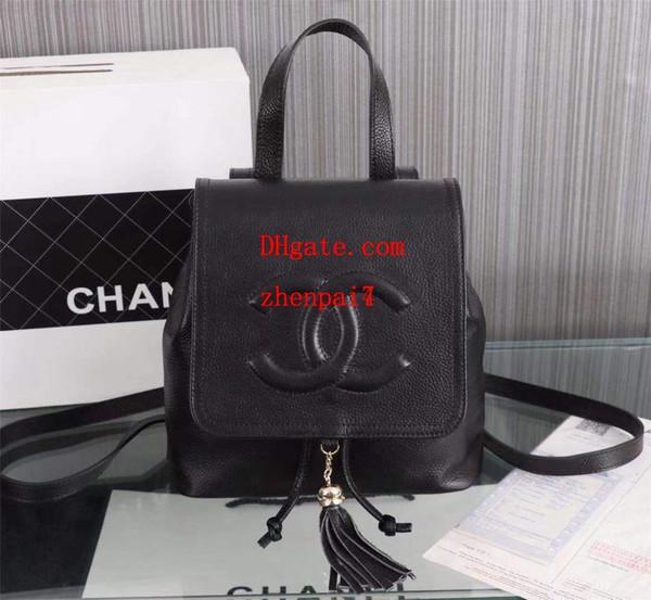 Marke rucksack 2018 neue mode frauen berühmte marke rucksack damen casual leder quaste zubehör schwarze handtasche