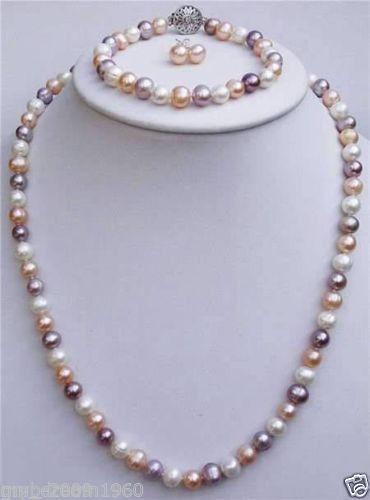 Set di bracciali per orecchini con collana di perle d'acqua dolce di colore rosa naturale bianco e viola 7-8mm