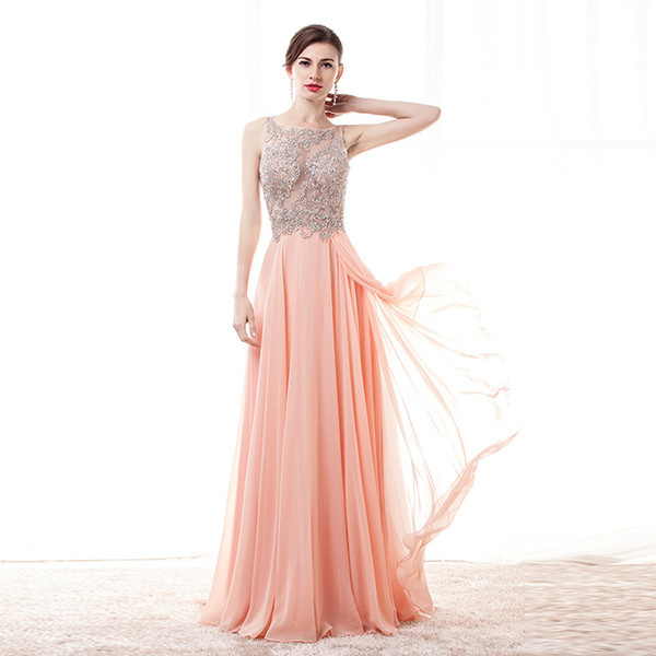 long a line scoop neck beading crystal ruffled slit floor length chiffon prom dress women formal party gown suknia wieczorowa