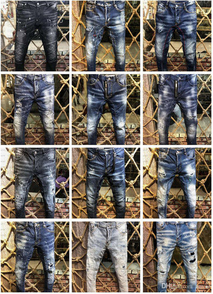 top popular 2019 New Arrival Top Quality Brand Designer Men Denim Jeans Embroidery Pants Fashion Holes Trousers US Size 28-38 2019