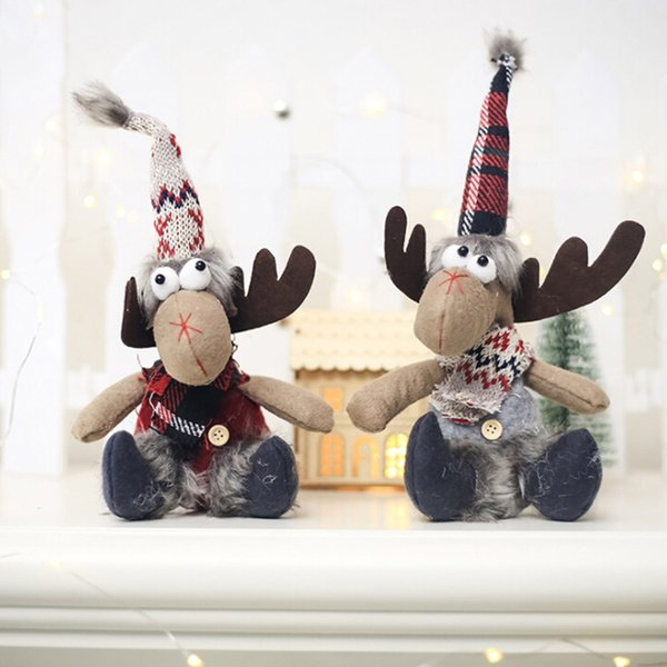 Décorations de fête de noël en peluche renne poupée pendentifs pour arbre de Noël suspendus goutte ornements nouvel an enfants cadeau jouets