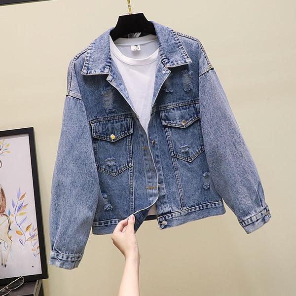 Korean Women Blue Ripped Jean Coat Long Sleeved Pockets Loose Jackets Back Cartoon Printed Button Casual Denim Coat