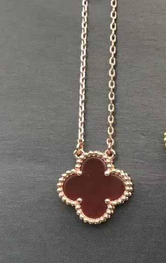 rose gold+red necklace