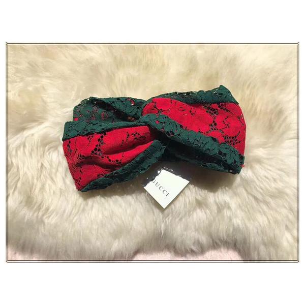 Hot Designer Dentelle Cross Bandeau Meilleure Qualité Nouveau De Luxe Élastique Vert Rouge Turban Hairband Head Scarf Pour Femmes Fille Headwraps Cadeaux