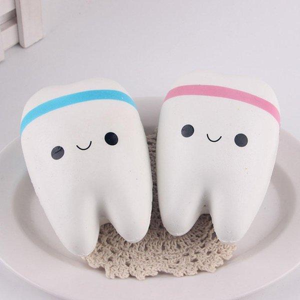 Toptan-Yeni 11 cm Kawaii Diş Jumbo Squishy Yavaş Yükselen Telefon Sapanlar Karikatür Diş Mavi / Pembe Diş Ekmek için Telefon / Mp3 / Çanta Charm Askı