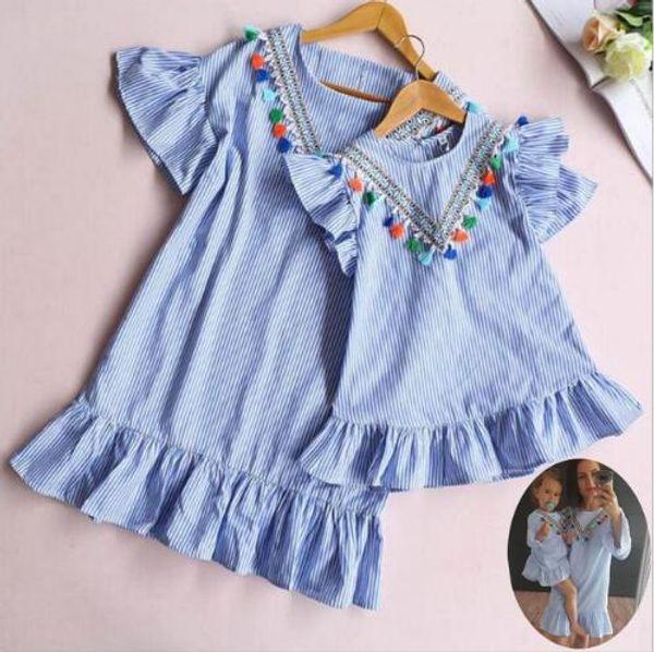 2019 novo estilo mãe filha vestidos bebê meninas tarja borla mini vestido de verão família olhar mamãe e me roupas