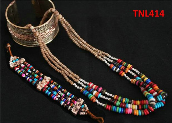 TNL414 티벳 화려한 무지개 야크 뼈 보석 세트, 페르시 목걸이와 팔찌