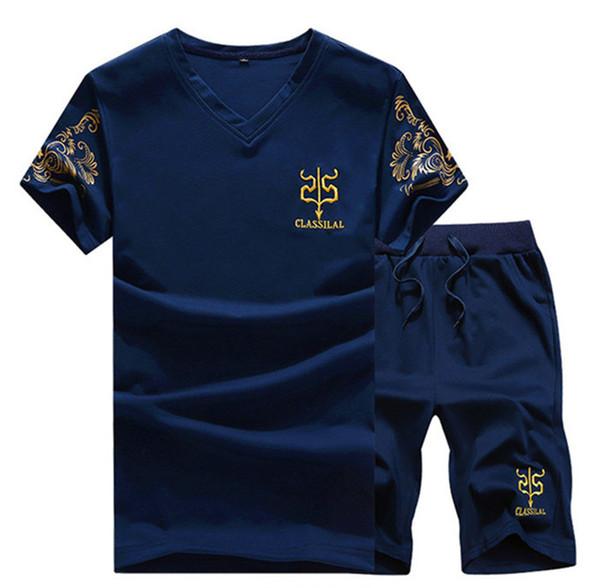 Verão Shorts Set Men Casual Exteriores Slim Fit Mens Sweat Ternos Casual Camisetas + Shorts Moda 2PCS Homens Define F-3