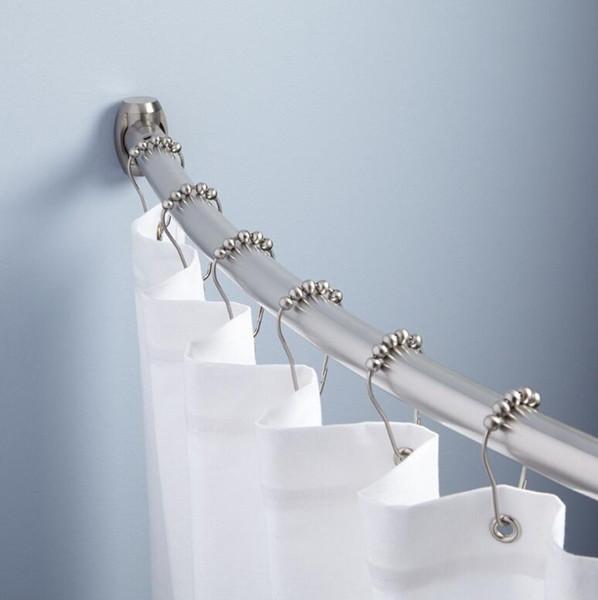 12 pçs / set metal cortina de chuveiro anéis ganchos polido mancha de níquel 5 rolo de bola banho de chuveiro cortina do banheiro anéis cortina de chuveiro acessórios