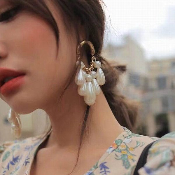 Korean Water Drop Long Earrings For Women Elegant Party Simulated Pearl Earrings 2018 New Trendy Jewelry Accessories White Gift D19011502