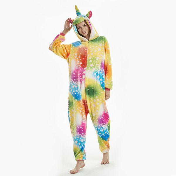 Животное Kigurumi Onesie Взрослые Мужчины Женщины Единорог Пижамы Пижама Мягкие Необычные Аниме Unicornio Pijima Общая Ночная одежда Onepiece
