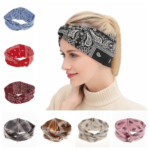 Frau böhmischen bogen haarband vintage mädchen gedruckt knoten stirnband mode dame kopfschmuck bowknot turban tta1637
